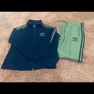 Green and Navy blue vintage adidas track suit.